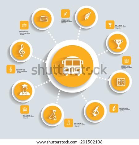 Education concept infographics,yellow vector - stock vector