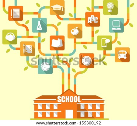 Education concept. School building and growing from it stylized tree with flat icons - stock vector