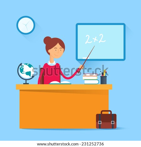 Education concept - teacher sitting at the table in the classroom. Vector illustration, flat style - stock vector