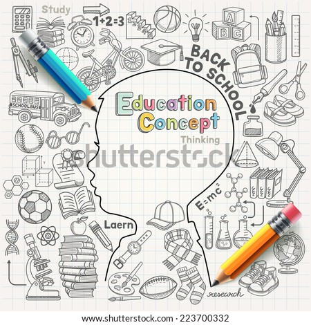 Education concept thinking doodles icons set. Vector illustration. - stock vector