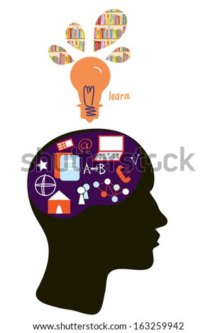 Education concept with head silhouette and light bulb illustration