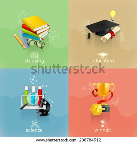 Education concepts, vector set - stock vector