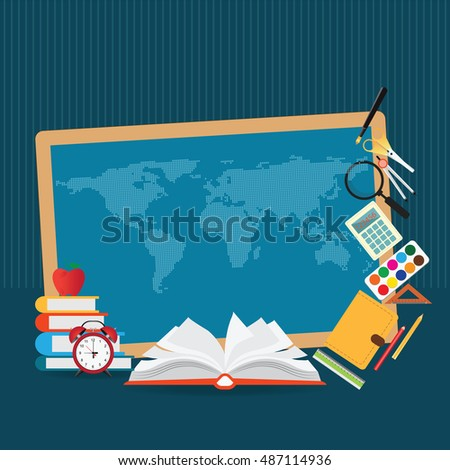 Education design background with world map, open book , back to school creative conceptual, Modern template Design Vector illustration.