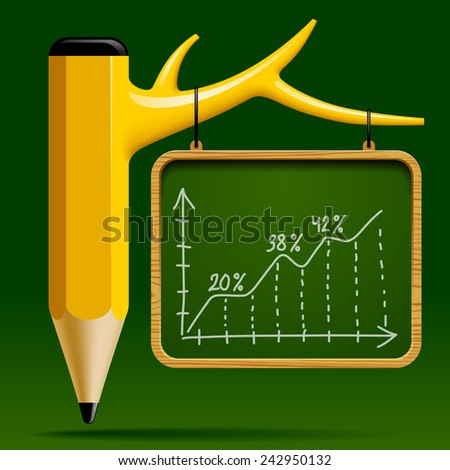 Education design with Tree pencil and Blackboard with a Growth chart on green background. Back to school concept. Vector illustration - stock vector