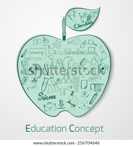 Education doodle concept with science and knowledge symbols in apple shape vector illustration - stock vector
