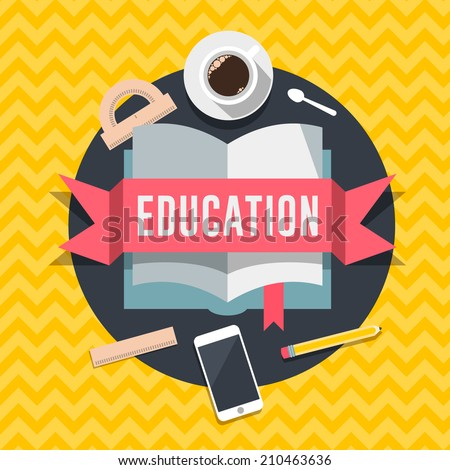Education flat design concept for web and mobile services and apps. Idea for education, online education, online learning, learn to think, e-learning. Vector illustration.  - stock vector