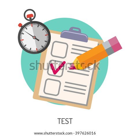 Education Flat Icon Set for Flyer, Poster, Web Site Like Test, Pencil and Stopwatch. - stock vector
