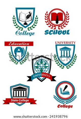 Education heraldic logo, emblems for school, college, university with books, pens, globe, buildings, tree bordered shields or stamps with laurel wreaths and ribbon banners - stock vector