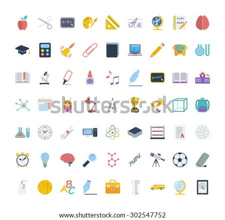 Education icon set. Flat vector related icon set for web and mobile applications. It can be used as - logo, pictogram, icon, infographic element. Vector Illustration.  - stock vector