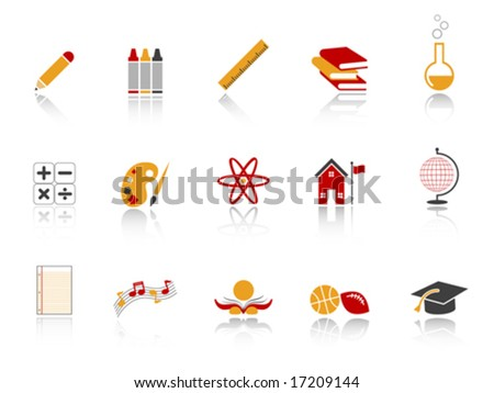 Education Icon Set - Red version - stock vector