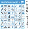 Education icon set,vector - stock photo
