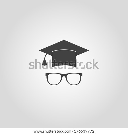 Education icon. Vector hat and glasses - stock vector