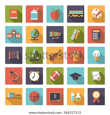 Education icon vector set. Set of 25 education, school, college and university related icons in rounded squares, flat design, long shadow
