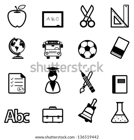 Education Icons black vector - stock vector