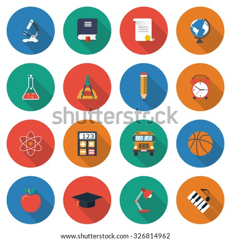 education icons. collection of elements and symbols of learning, education, knowledge. colorful flat icons with shadow Isolated on white background. Vector illustration - stock vector