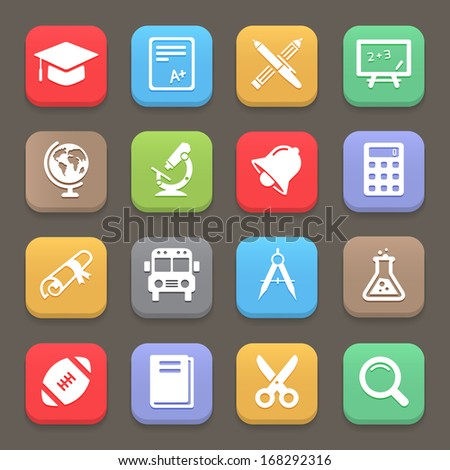 Education icons for web or mobile. Vector elements - stock vector