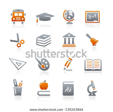 Education Icons // Graphite Series - stock vector