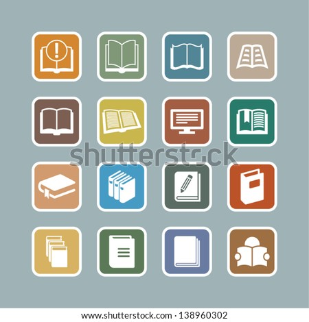 Education Icons // Graphite Series. Books in vector. - stock vector
