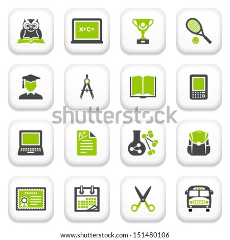 Education icons. Green gray series. - stock vector