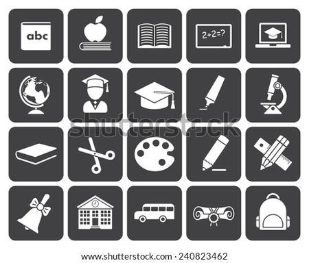 Education icons (modern flat design) - stock vector