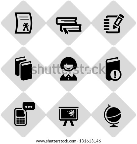 education icons on grey - stock vector