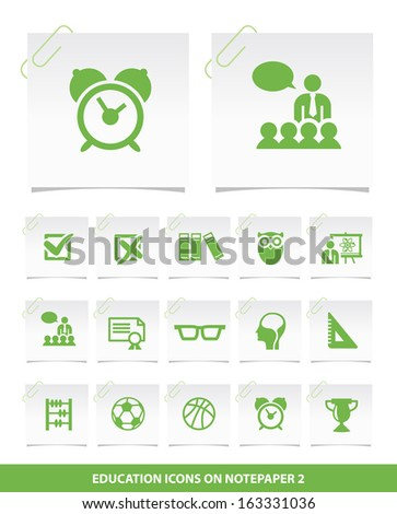 Education Icons on Notepaper 2. - stock vector