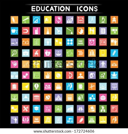 education icons set, flat icons set - stock vector