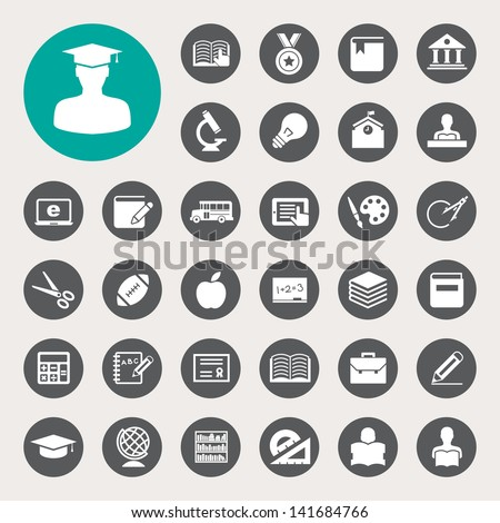Education icons set. Illustration eps 10 - stock vector