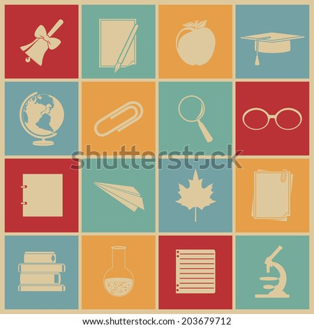Education icons. Vector set, EPS 8. - stock vector