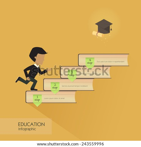 Education infographic with colorful books element, vector illustration - stock vector