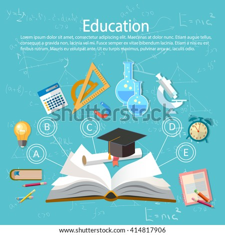 Education infographics open book of knowledge school background education infographics  technology - stock vector