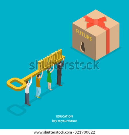 Education is key to your future flat isometric vector concept. People carrying big key with label EDUCATION to unlock box with FUTURE label. - stock vector