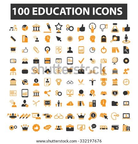 education, learning, school, science, college, university icon & sign concept vector set for infographics, website - stock vector