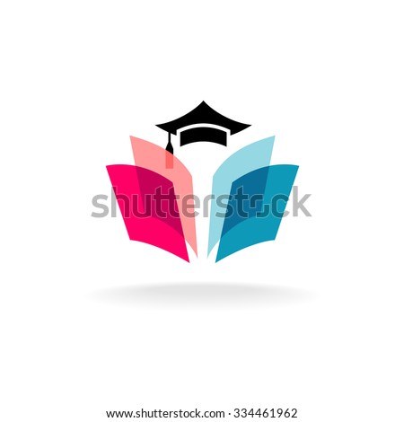 Education logo concept with graduation cap and open book pages. Transparency are flattened. - stock vector