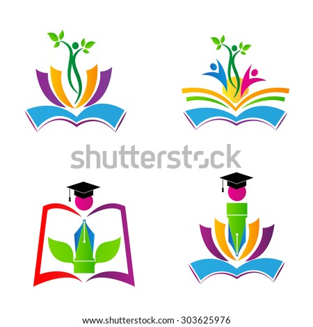 Education logos for school, college and university designs - stock vector