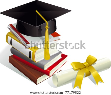 Education. Mortar Boards, books and Diploma. - stock vector