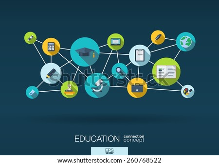 Education network. Growth abstract background with lines, circles and integrate flat icons. Connected symbols for elearning, knowledge, learn and global concepts. Vector interactive illustration - stock vector