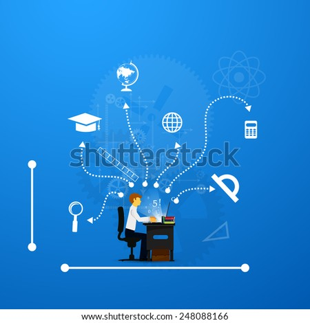 education, online learning and tree of knowledge icons in flat style - stock vector