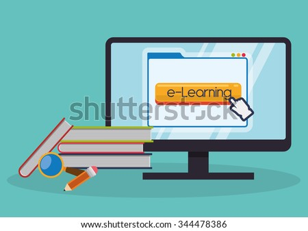 Education online or elearning theme design, vector illustration graphic - stock vector