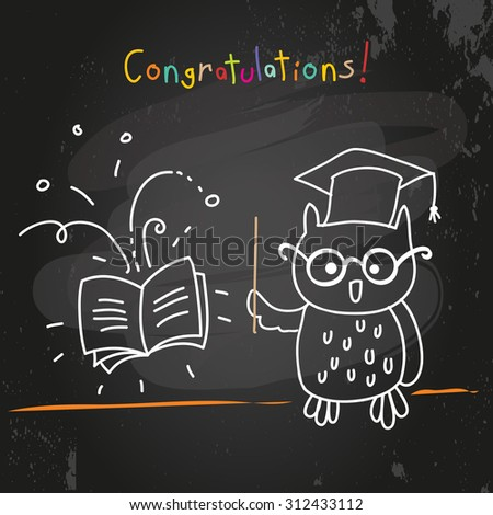 Education owl, chalk on blackboard drawing. Doodle style vector illustration.  - stock vector