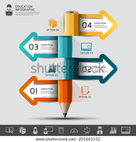 Education pencil Infographics step option. Vector illustration. can be used for workflow layout, banner, diagram, number options, step up options, web design.  - stock vector