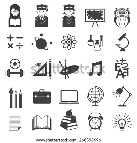 Education, School, Learning and Study Mono Icons Set - stock vector