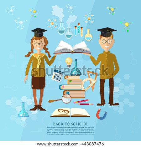 Education schoolboy and schoolgirl goes to school effective education power of knowledge stack of textbooks vector illustration - stock vector