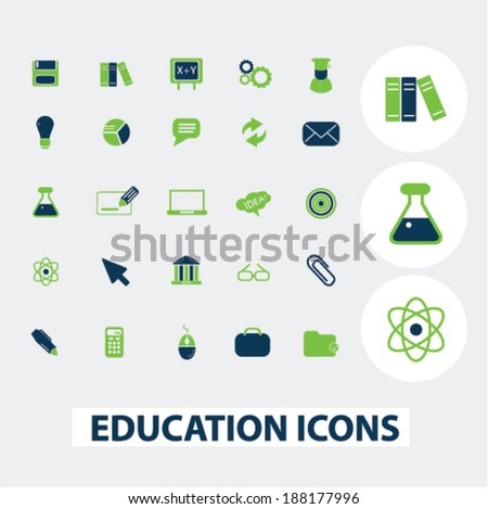 education, science icons set, vector - stock vector
