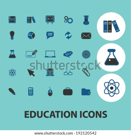 education, science icons, signs set, vector