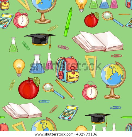 Education seamless pattern back to school education background vector illustration