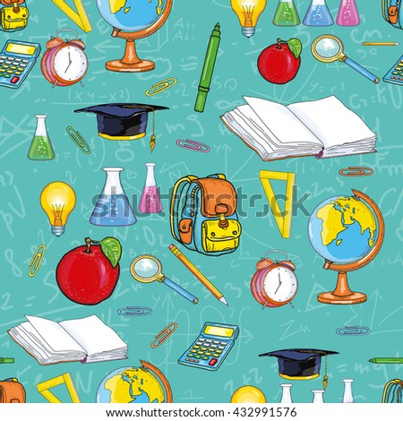 Education seamless pattern back to school open book, globe, pencils, textbooks vector illustration