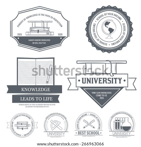 Education set label template of emblem element for your product or design, web and mobile applications with text. Vector illustration with thin lines isolated icons on stamp symbol.  - stock vector