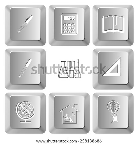 Education set. Vector set computer keys. - stock vector