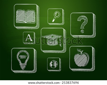 education signs - white chalk symbols over green blackboard, learning concept icons, vector - stock vector
